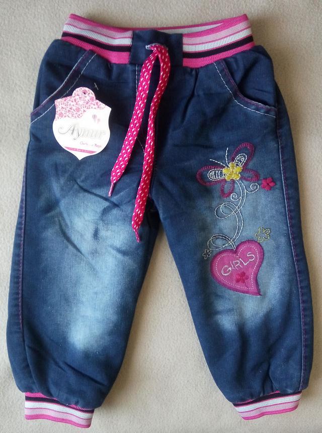 Теплые детские джинсы на махре для девочек 3-7 лет Турция