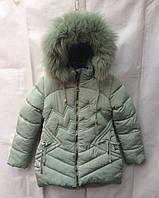 Полу-пальто детское для девочки с мехом6-10лет,ментоловое