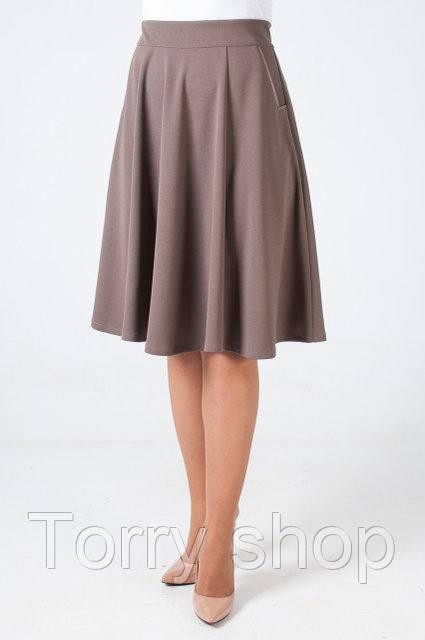 ec942a2212f Трикотажная юбка полу-солнце ниже колен бежевого цвета - Torry shop в  Хмельницком