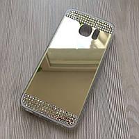 Зеркальный золотой силиконовый чехол с стразами для Samsung S7