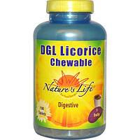 Natures Life, Жевательная солодка DGL, 100 таблеток
