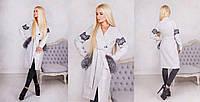 Роскошное, женское, осеннее пальто дизайнерского кроя с натуральным мехом чернобурки. 42-60р