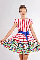 Яркое нарядное подростковое платье в принт цветы