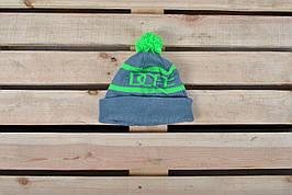Теплая шапка В стиле Dope / салатовая надпись