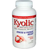 Wakunaga - Kyolic, Выдержанный экстракт чеснока, снятие стресса и усталости, формула 101, 200 капсул