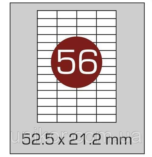 Этикетки самоклеящиеся А4, (56) 52.5*21.2, 100 листов в упаковке, прямые края. AXENT
