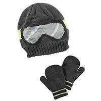 Комплект шапка на флисе и варежки для мальчика Carters черные очки