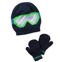 Комплект шапка на флисе и варежки для мальчика Carters зеленые очки