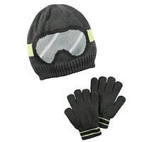 Комплект шапка и перчатки для мальчика Carters черные очки, Размер 4-8, Размер 4-8