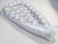 Гнездышко КОКОН Babynest для Новорожденных Совы на сером (унисекс)