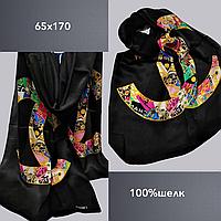 Шарф палантин брендовый TAH Шанель шелк 100%, 65х170, цв. 1