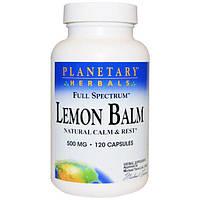 Planetary Herbals, Мелисса, полный спектр, 500 мг, 120 капсул