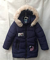 Полу-пальто детское для девочки с мехом6-10лет,темно синее