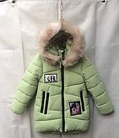 Полу-пальто детское для девочки с мехом6-10лет,салатовое