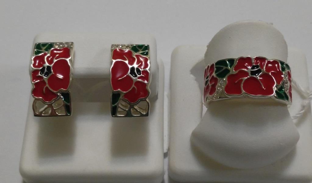 Серебряный комплект Маки с красной эмалью - Hope Shop интернет- магазин  ювелирных украшений в Белой f60381ce308