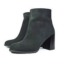 Шикарные темно-серые осенние женские замшевые ботинки ARBI на толстом каблуке ( новинки весна-осень )