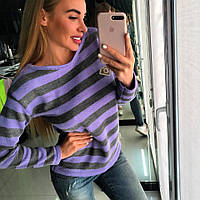 Яркий, женский, полосатый свитер с круглой горловиной и фирменным логотипом с камнями.РАЗНЫЕ ЦВЕТА