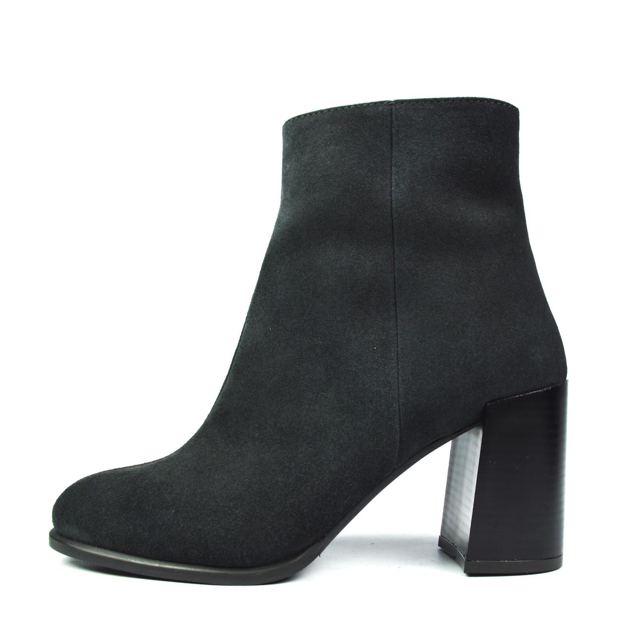 Шикарные темно-серые осенние женские замшевые ботинки ARBI на толстом  каблуке ( новинки весна-осень ) b74d6898d63