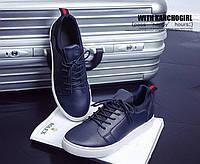Мужские кеды туфли брогги designer loafers ортопедическая стелька,  верхэко- кожа,р-р 40-44 темно-синие