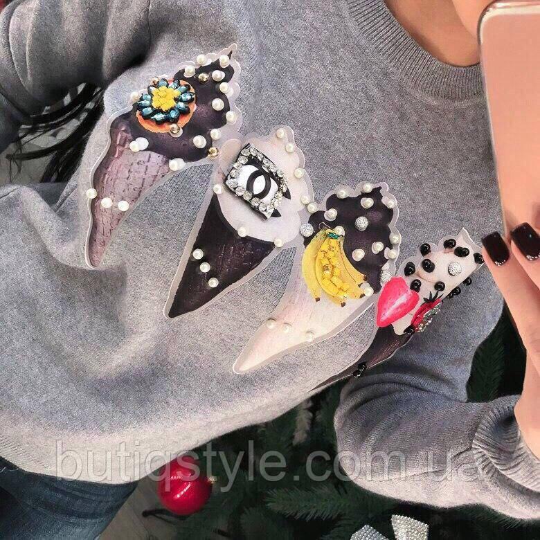 Модная женская кофта свитер мороженное тренд 2017