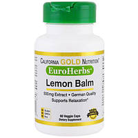 California Gold Nutrition, CGN, EuroHerbs, Мелисса Лимонная XT 500 mg,VC MB, 60 карат