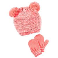 Комплект шапка и варежки для девочки Carters с двумя помпонами, Размер 2т-4т, Размер 2т-4т