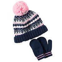 Комплект шапка и варежки для девочки Carters черно розовый, Размер 2т-4т, Размер 2т-4т