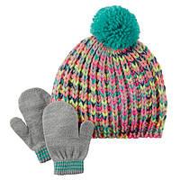 Комплект шапка и варежки для девочки Carters радуга, Размер 2т-4т, Размер 2т-4т