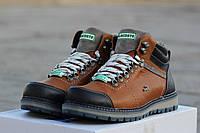 Мужские зимние ботинки Lacoste натуральная кожа, искусственный мех, прошитые, Украина