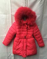 Полу-пальто детское для девочки с мехом6-10лет,малиновое с мехом