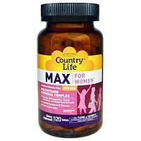 Country Life, Max, для женщин, мультивитаминный и минеральный комплекс, с железом, 120 таблеток