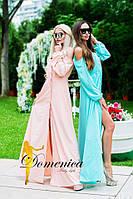 Женское, летнее платье в пол с пышными рукавами и открытыми плечами(суперсофт)42-60р РАЗНЫЕ ЦВЕТА