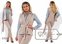 Стильный женский костюм-тройка для пышных модниц (креп шифон, поливискоза, брюки, блуза, жилетка, пояс)
