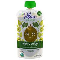 Plum Organics, Тотс, могучие цвета, зеленый, киви, груша, шпинат и зеленый нут, 3,5 унции (99 г)