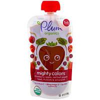 Plum Organics, Tots, Mighty Colors, Красный, Клубника, Яблоко, Карсный болгарский перец, Свекла, Ревень и амарант, 3,5 унции (99 г)