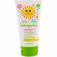 BabyGanics, Солнцезащитный лосьон на основе минералов, фактор защиты SPF 50+, 59 мл (2 унц.)