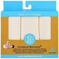 Charlie Banana, Органические многофункциональные салфетки из хлопка, 10 многоразовых салфеток