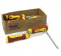 Отвертка с красно-жолтой ручкою 18см фиксатор  316 (12/240)