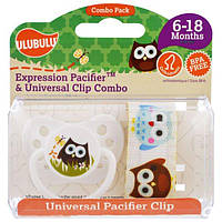 Ulubulu, Expression Pacifiers & Universal Clip Combo, Owl, 6-18 Months