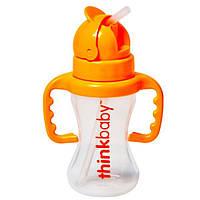 Think, Thinkbaby, Thinkster, бутылочка с трубочкой, оранжевая, уровень D, 9 жидких унций (260 мл)