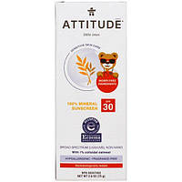 ATTITUDE, Little Ones, Sensitive Skin Care, Baby, 100% Mineral Sunscreen, SPF 30, Fragrance Free, 2.6 oz (75 g)