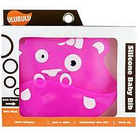 Ulubulu, Детский силиконовый нагрудник, розовый бегемот, 1 шт.