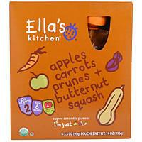 Ellas Kitchen, Пюре с яблоком, морковью, черносливом и мускатной тыквой, этап 2, 4 пакета по 14 унций (396 г)