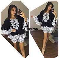 Эксклюзивный летний женский костюм (х/б прошва, шитье макраме, шорты и блузка) РАЗНЫЕ ЦВЕТА!