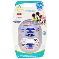 NUK, Ортодонтическая соска Disney Baby Mickey Mouse, 0-6 месяцев, 2 шт