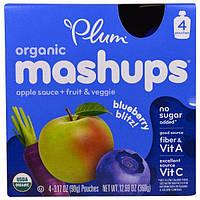 Plum Organics, Органическая смесь, Черничный взрыв, 4 упаковки по 3,17 унции (90 г)
