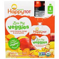 Nurture Inc. (Happy Baby), Обожаю свои овощи из серии Счастливый карапуз, органическая фруктово-овощная смесь c морковью, бананом, манго и бататом, 4