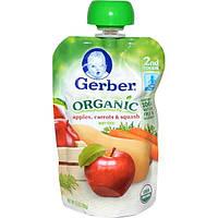 Gerber, Основное питание, Органическое детское пюре из яблок, моркови и кабачков, 3,5 унции (99 г)