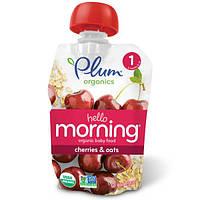 Plum Organics, Hello Morning, органическое детское питание, этап 1, вишня и овес, 3,5 унции (99 г)