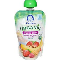 Gerber, 2-ая еда, органическое, детское питание, фрукты и зерна, банан, красные ягоды, гранола, 99 г (3,5 унции)